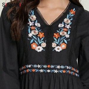 Image 4 - Siskakia מזדמן מוסלמי ארוך שמלת אתני V צוואר ארוך שרוול פרחוני רקמת מקסי שמלות שחור בתוספת גודל בגדי ערב 2019