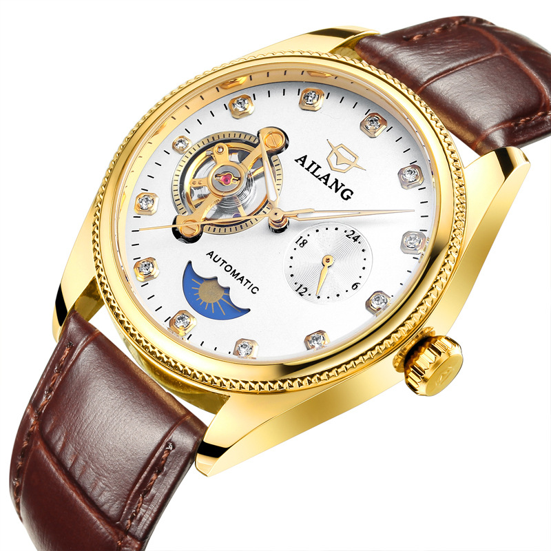 где купить AILANG mens leather wristwatches Mechanical automatic black brown waterproof man watches luxury diamond Tourbillon moon phase по лучшей цене