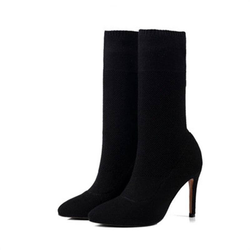 Automne Haute Femmes noir Mode Hiver Talons Chaussures mollet Mi Bottes 2018 Dames À Noir Pointu Mince Apricot Tricoter De Bout Smirnova Femme xnIAqZpw