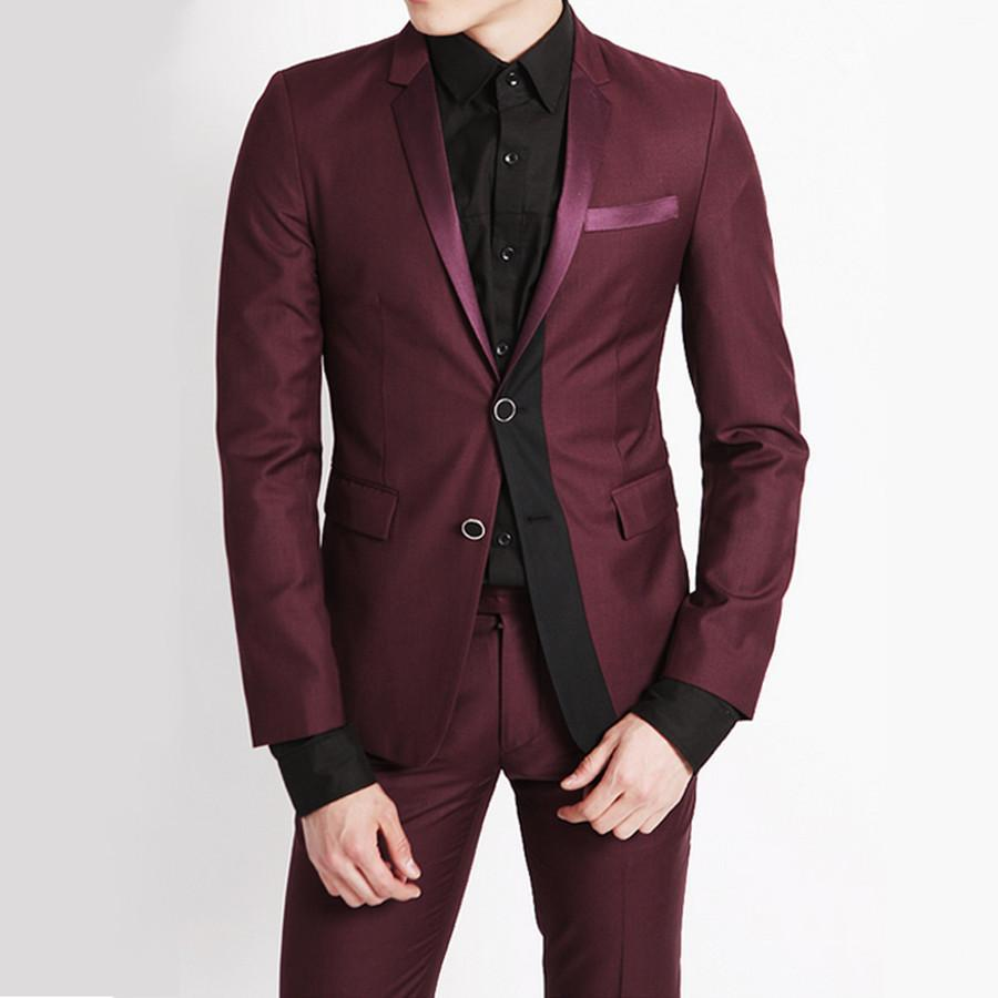 Esmoquin Mejor Hombre Trajes Rojo Slim Fit Tuxedo Moda