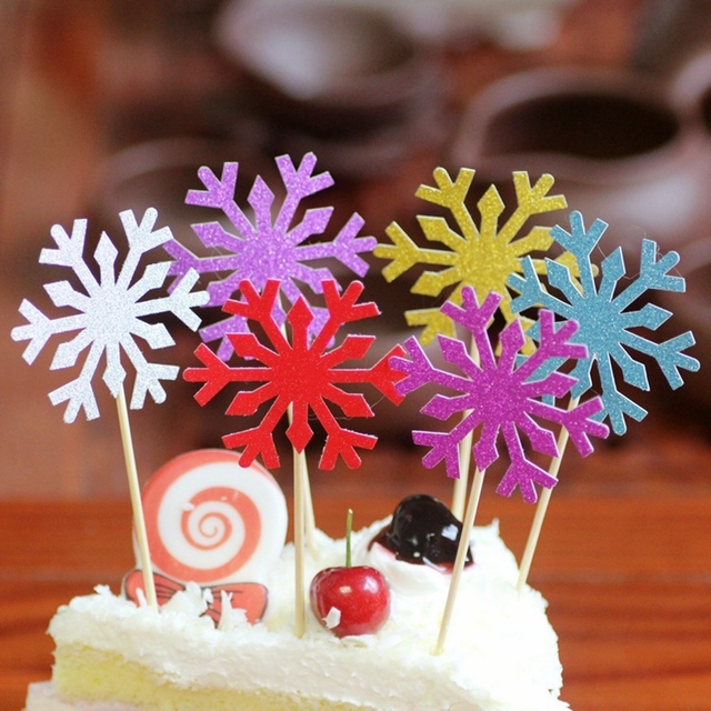 10 pcspack shiny paper snowflake cake toppers birthday christmas cupcake decorations wedding party supplies - Christmas Cupcake Decorations