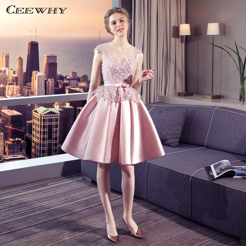 CEEWHY A Line Knee Length   Dress   Elegant Lace Wedding Party   Dresses   Vestidos Coctel Mujer Short   Cocktail     Dresses   Summer