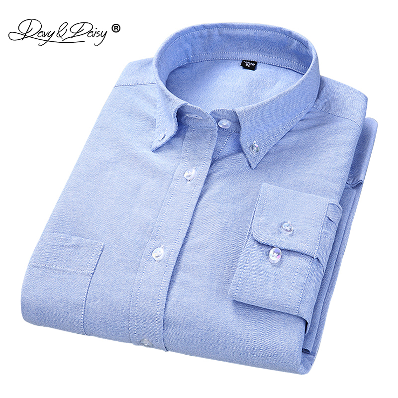 DAVYDAISY 2019 High Quality 100% Cotton Oxford Men Shirt Long Sleeved Simple Solid Casual Shirts Brand camisa masculina DS152