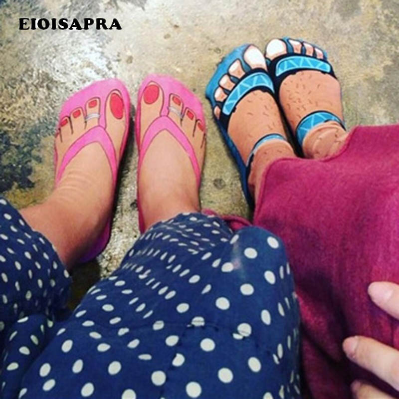 [EIOISAPRA]3D Printed Toes Unisex Slippers Funny Socks Divertidos Jacquard Socks Men Harajuku Cute Calcetines Hombre Sokken Sox