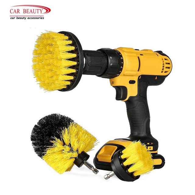 3Pcs/Set Drill Scrubber Brush Kit Power Scrubber Cleaning Brush for Car Auto Tire Wheel Floor Corner Boat RV Tub Cleaner