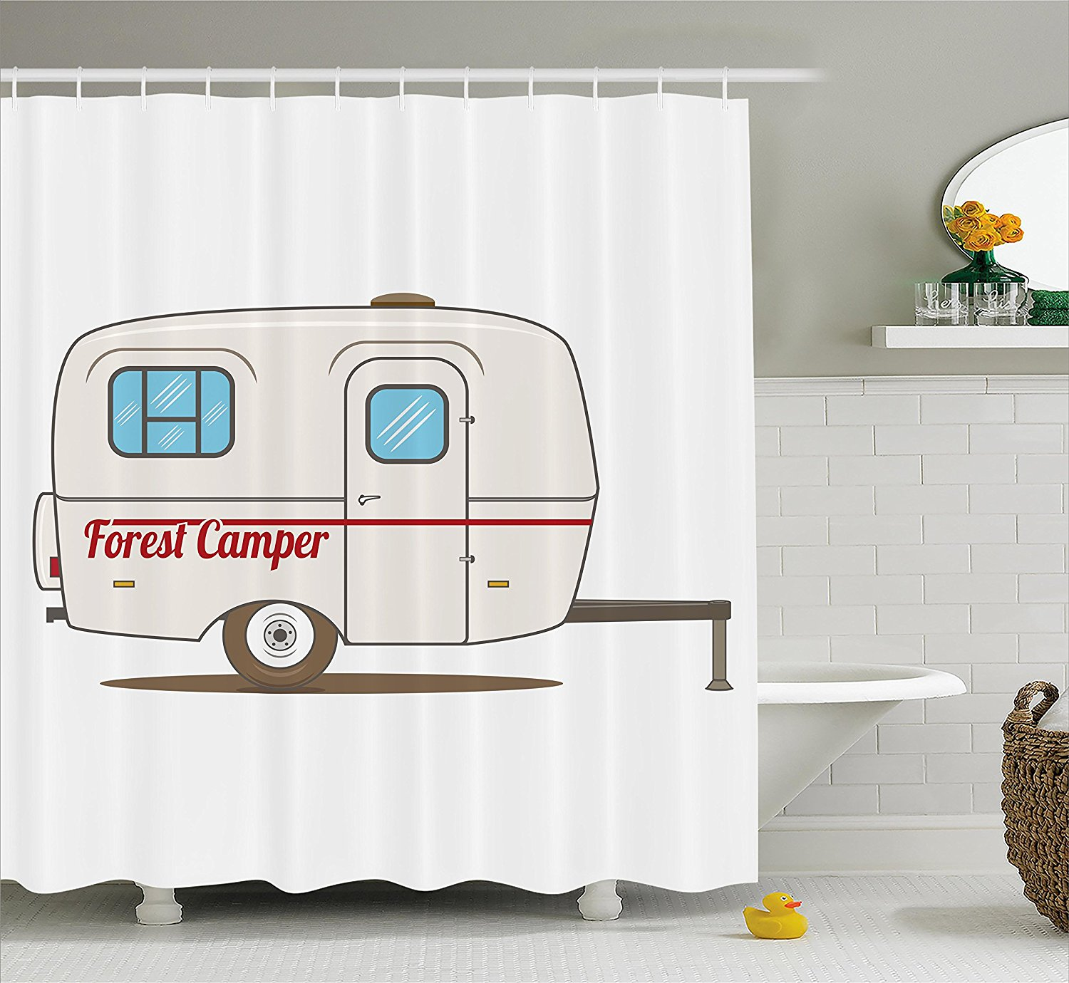 Mustache shower curtain - Memory Home Shower Curtain Cute Vintage Caravan Travelers Truck On The Road Retro Design Fabric Bathroom