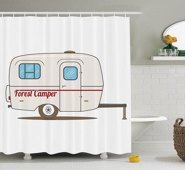 speicher hause dusche vorhang niedlich vintage caravan reisende lkw auf der strae retro design stoff badezimmer - Stoff Vorhang Dusche