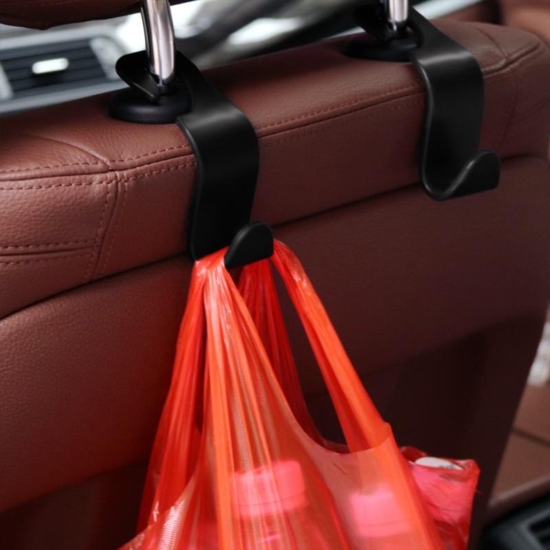 2pcs Car Seat Back Hooks Auto Hidden Headrest Hanger For Handbag Shopping Bag Coat Storage Hanger Car Accessories Hook Organizer