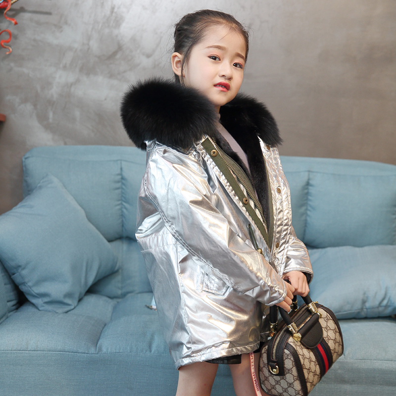 Girl Winter Coat Rex Rabbit Fur Lining Children Jacket Children Fur Jacket Big Fox Fur Collar Skinny Warm Jacket Boy Fashion New new russia fur hat winter boy girl real rex rabbit fur hat children warm kids fur hat women ear bunny fur hat cap
