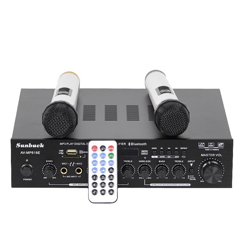 New AV-MP618E Karaoke FM radio MP3 USB SD Card Bluetooth hifi 200W + 200W 2.0 Home Theater Audio Digital AV Amplifier 220v 240v 200w 200w sunbuck av mp326c professional digital echo mixer amplifier home karaoke amplifier with eq equalization