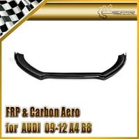 Car Accessories Carbon Fiber Front Lip Glossy Fibre Bumper Splitter Under Spoiler Racing Body Kit Trim Fit For Audi 09 12 A4 B8