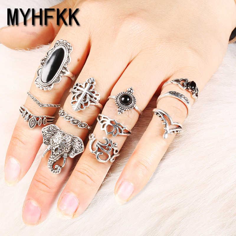 MYHFKK12 peças/set anel senhoras boêmio retro elefante JZ043 crown flor preto anel ajustável de jóias por atacado do vintage