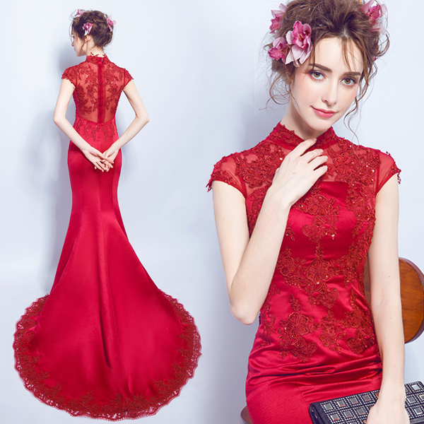 plus size cheongsam chinese style traditional embroidery 2017 women long lace red wedding qipao dresses high