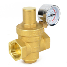DN15 Brass Water Pressure Reducing Valve NPT 1/2″ Adjustable Valves Mayitr With Gauge Meter