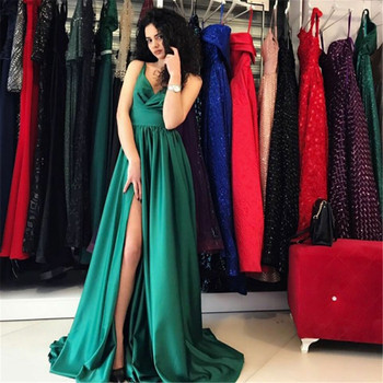 Green Satin Long Elegant Maid Of Honor Dress 2019 High Split A Line Long Bridesmaid Dresses Custom Made Women Wedding Party Gown