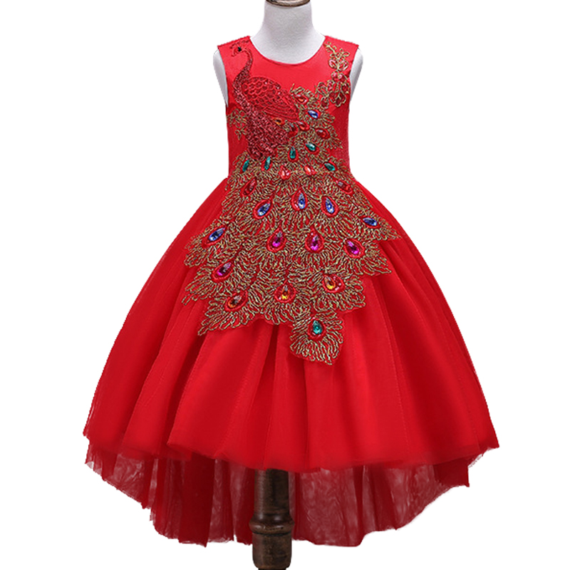 New Year feast girl Children Wedding Dress After Short Before Mopping the floor Long Peacock embroidery princess Party dress beggar s feast