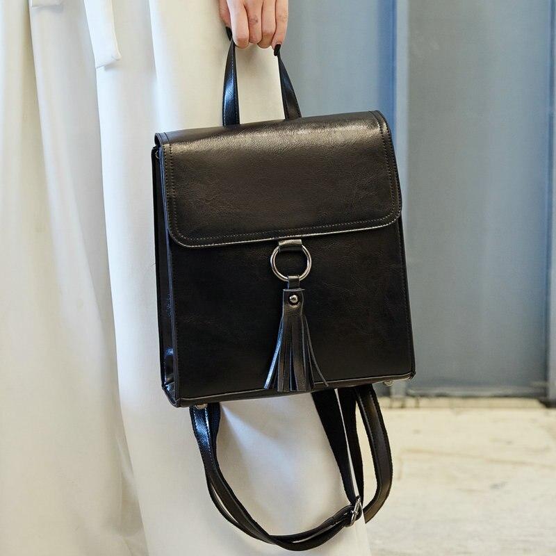 5a08b78fe492 QIAOBAO Tassel Women Genuine Leather Backpack Teenage Backpacks For Girls Vintage  Feminine Backpack Sac A Dos Femme-in Backpacks from Luggage   Bags on ...