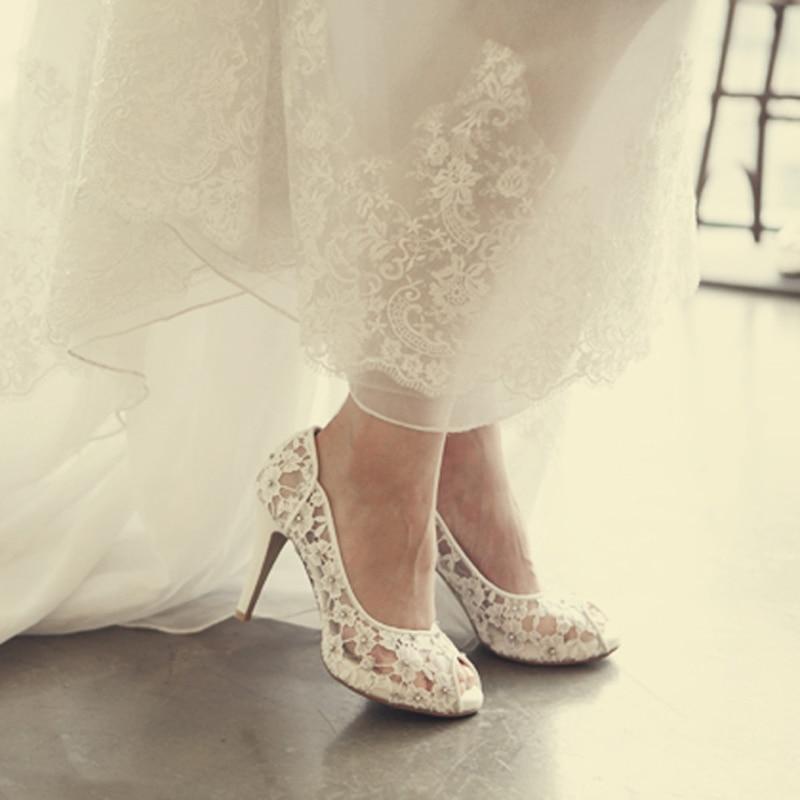 Bling Bling Blumen Hochzeit Schuhe Ziemlich Stunning Mit Hohen Absätzen Braut Kleid Schuhe Peep Toe Weiß Spitze Kristall Hand gefertigt Prom pumpen-in Damenpumps aus Schuhe bei  Gruppe 2
