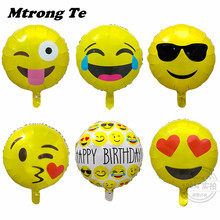 12pcs 18inch QQ expression ballons Emoji foil balloon happy birthday party Emoticons heliu