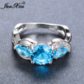 JUNXIN Bohemian Male Female Light Blue Ring Fashion Round & Water Drop Design White Gold Ring Vintage Wedding Rings For Women