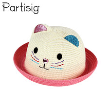 7f84f90d Children's Hat Summer Girls Panama Hat Cartoon Kitty Straw Cap For Boys  Baby Sun Hip Hop Hats Caps