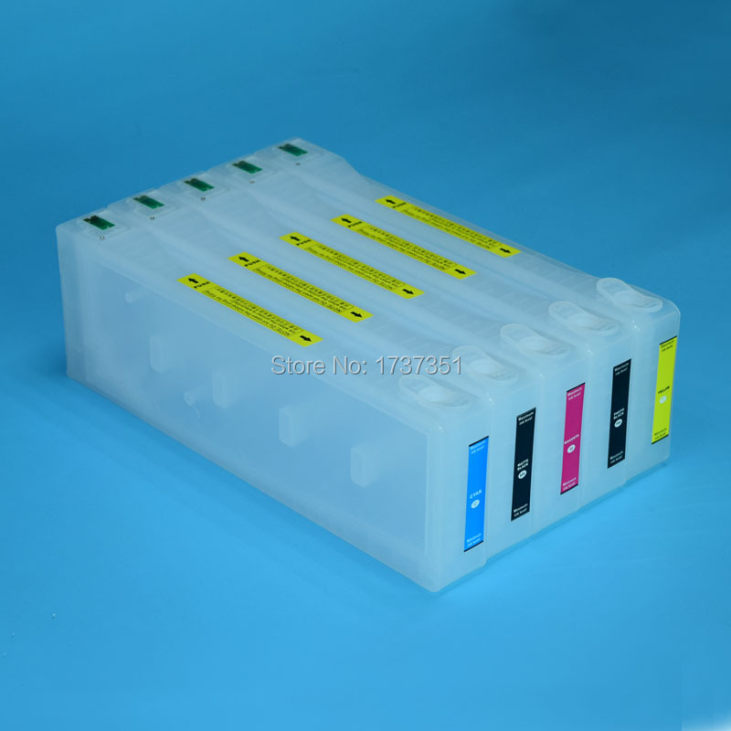5 color 700ml refill ink cartridge with chip resetter for Epson Stylus Pro 9700 printer
