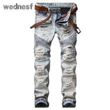 #1960 Лоскутное Старинные Тонкий Известный бренд мужчины Прямо Рваные джинсы для мужчин Мода Поддельные дизайнер одежды Hip hop Байкер джинсы