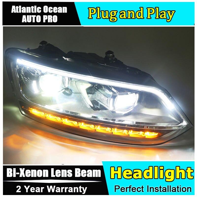 AUTO.PRO for vw polo headlights 2011 2017 models car styling LED car styling xenon lens car light led bar H7 led parking