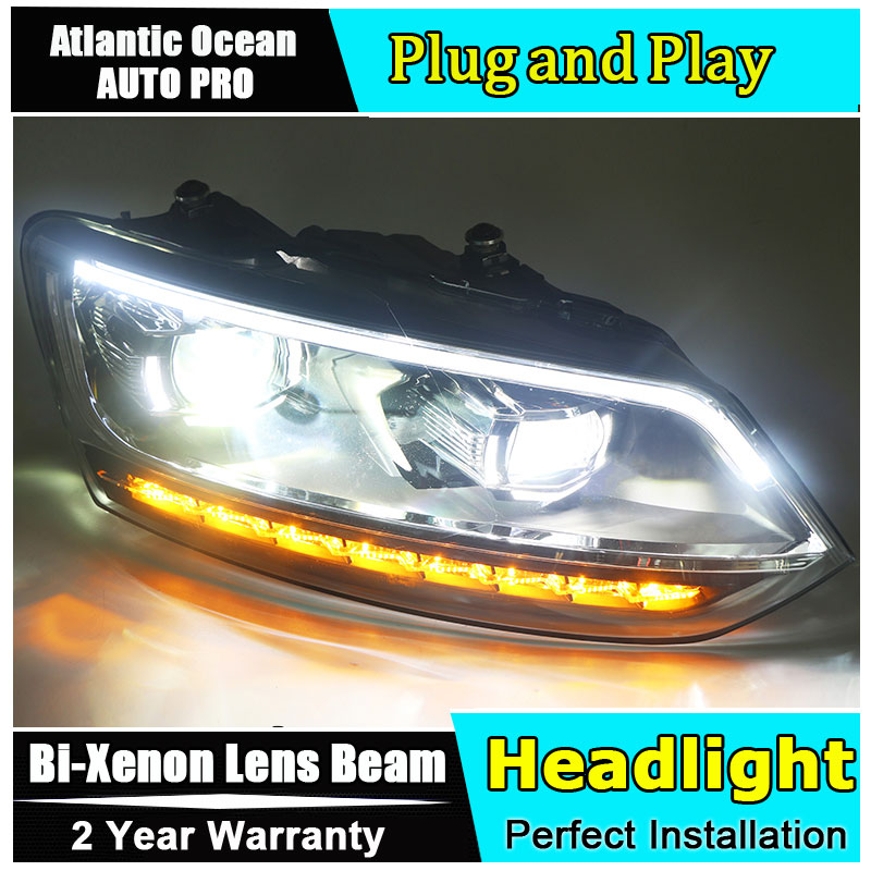 For vw polo headlights 2011-2017 new models car styling LED car styling xenon lens car light led bar H7 led parking light стоимость