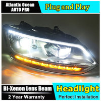 for vw polo headlights 2011 2017 models car styling LED car styling xenon lens car light led bar H7 led parking