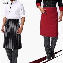 Viaoli novos preços por atacado cozinha aventais meia-comprimento avental de cintura longa catering chefs garçons uniforme chef acessórios garçons