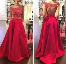 2016 rot Zwei Stück Weg Von der Schulter Abendkleid Zurück Loch U-ausschnitt A-linie Abendkleider mit Tasche Gelegenheits-kleid Party kleid