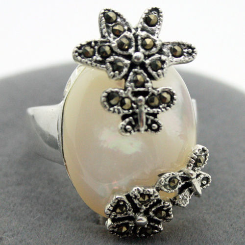 free shipping noble 28*15mm 925 Silver Natural White Sea Shell Marcasite Size 7/8/9/10