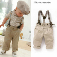 Anlencool Baby Boy Toddler Clothes Casual Formal Gentleman Strips Tops Pants Braces 3Pcs Outfit Set 0