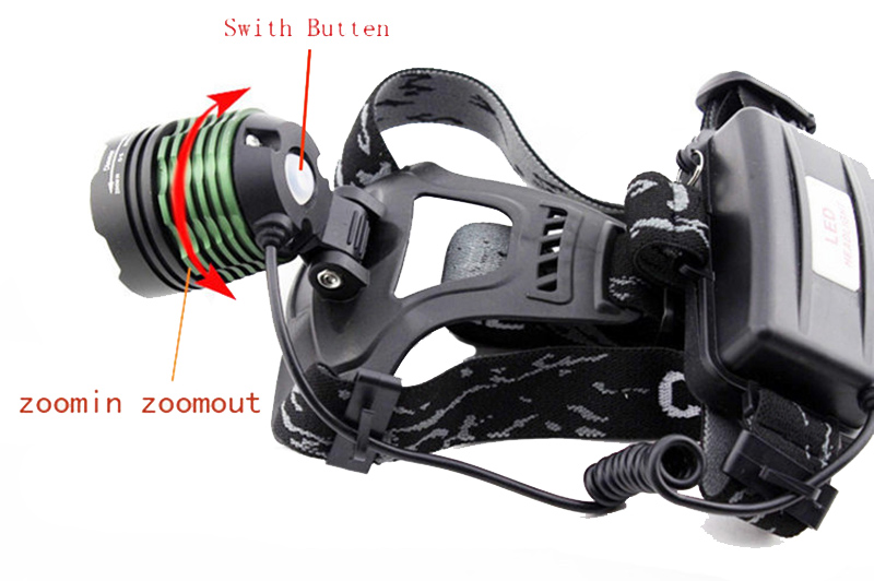 1600 Lumens CREE LED Headlamp Rechargeable Headlight Flashlight 2* 18650 + Charger for Hunting Camping + Free Shipping