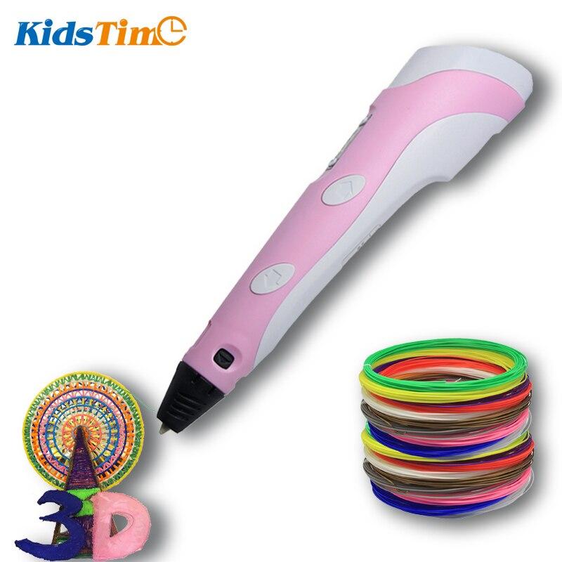 KidsTime 3D pluma impresora 3D dibujo Scribble de impresión lápiz con colorido PLA filamento para niños DIY regalos para los niños