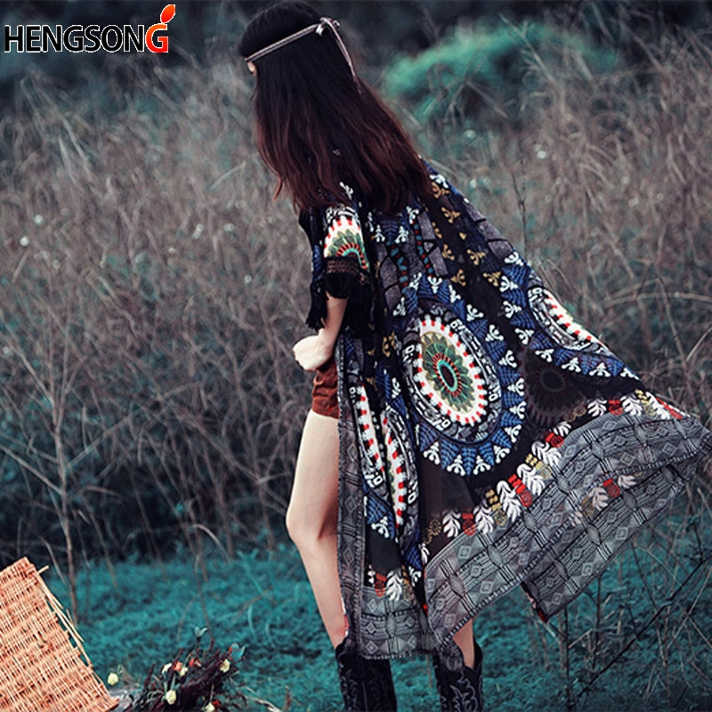 a98f03e0c8 Kimono Cardigan 2018 Boho Holiday Cardigan Women Gypsy Embroidery ...