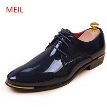 MEIL 2018 Men Shoes Patent Leather Shoes Man Formal Pointed Toe Luxury Dress Shoes zapatos hombre Oxfords wedding shoes opp 2017 men s leather dress shoes patent leather with buckle casual dress shoes low heel zapatos hombres oxfords for men
