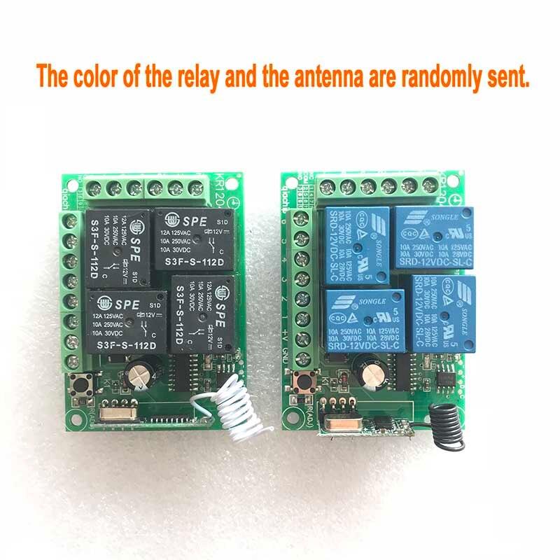 433 Mhz universel sans fil télécommande commutateur DC 12 V 4CH relais récepteur Module avec 4 canaux RF télécommande 433 Mhz émetteur