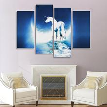 Laeacco Canvas Calligraphy Painting Unicorn Fairy Abstract Animal Poster and Print Wall Artwork Living Room Kids Room Home Decor laeacco canvas calligraphy painting abstract 5 panel unicorn wall art animal poster and print nordic home living room decoration