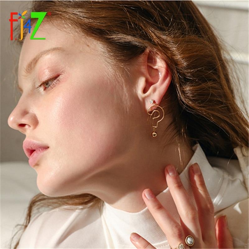 F.J4Z Hot Personality Interesting Question Mark Dangle Earrings Trending Asymmetrical Earrings For Women