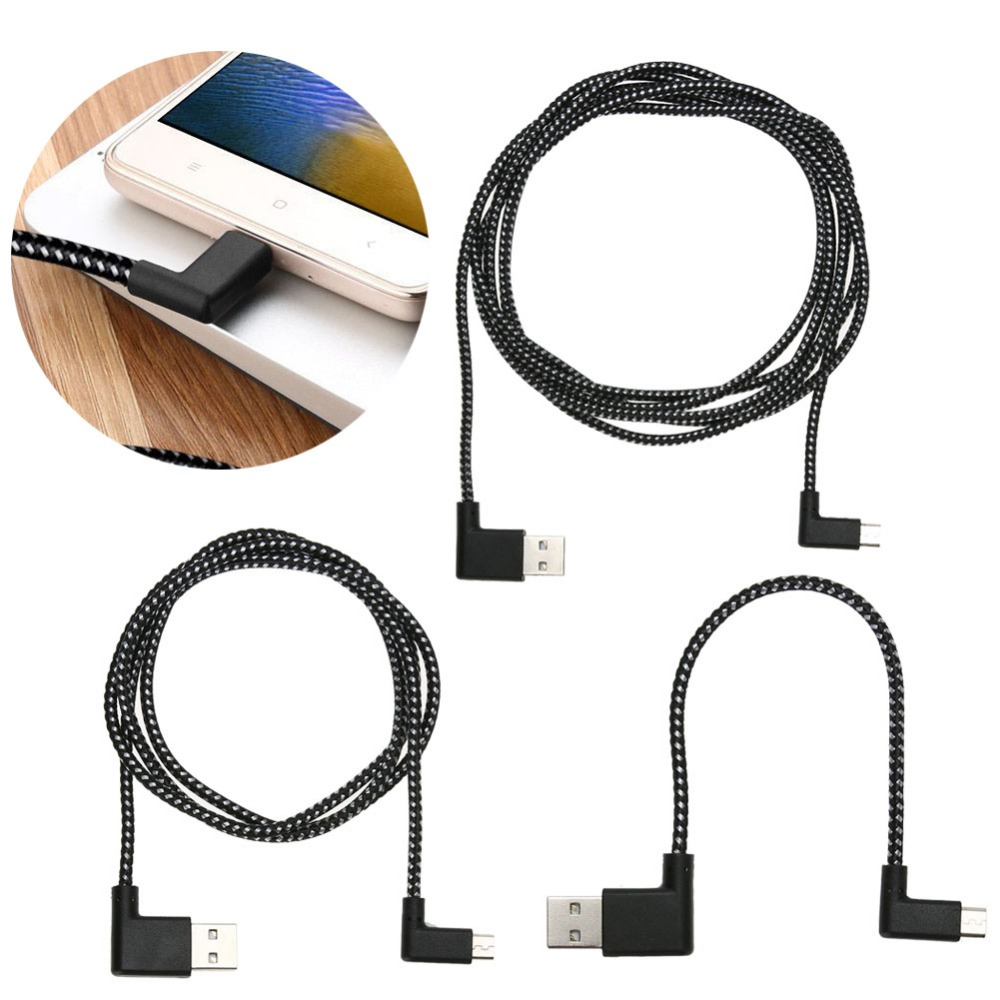0.2/1/2m L Shape 90 Degree Angle Connector Nylon Weaving Micro USB Charging Data Sync Transfer Cord Wire Line