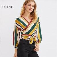 COLROVIE Wrap Tied Stripe Blouse Multicolor Elegant Tops 2017 Women V Neck Long Sleeve Tops Surplice
