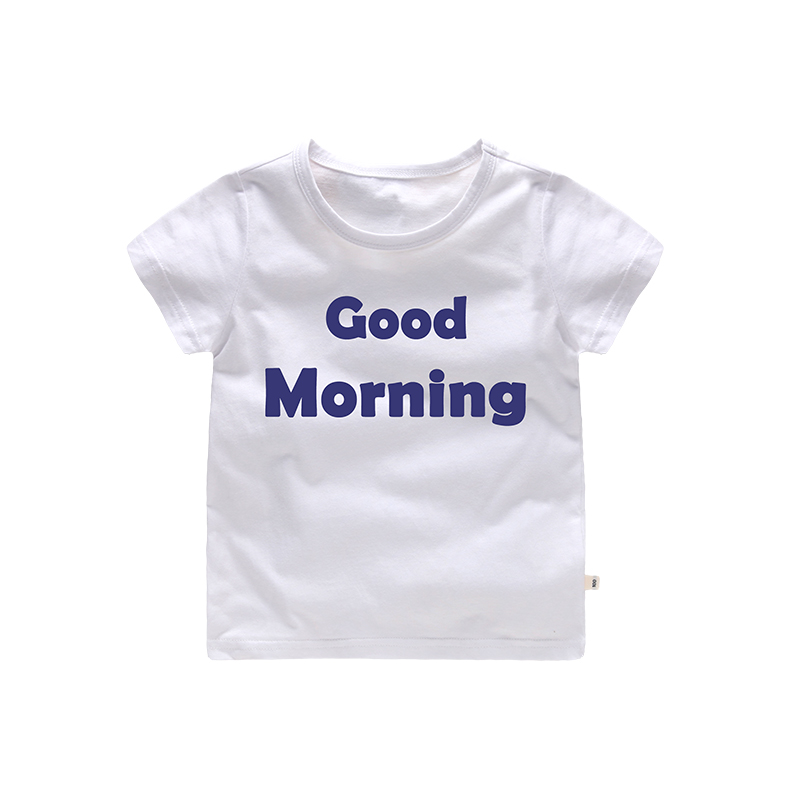 Print Letter Good Morning Pattern Kids Cute Casual Cotton tshirt tee shirt fille children cloth summer 2 3 4 5 6 7 Years Old