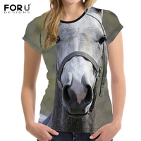 FORUDESIGNS 3D Animal Crazy Horse Printing Women Tshirts Fashion Brand Designer Slim O Neck T Shirt