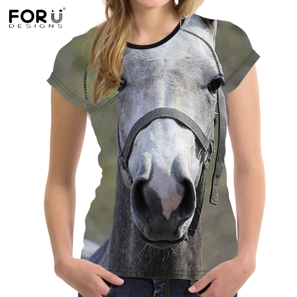 Women's Clothing Noisydesigns Carzy Horse 3d Print Summer Womens Tshirt Fashion Short Sleeve O-neck Tee Shirt Casual Bodybuilding T-shirt Female A Wide Selection Of Colours And Designs