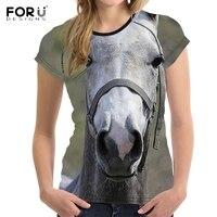 FORUDESIGNS 3D Animal Crazy Horse Printing Women Tshirts Fashion Brand Designer Slim O Neck T Shirt
