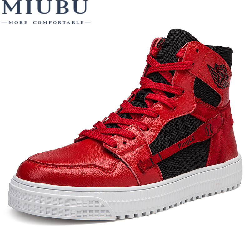 MIUBU High Top Shoes Men Casual Autumn Winter Front Lace-Up Genuine Leather Ankle Boots Man Canvas