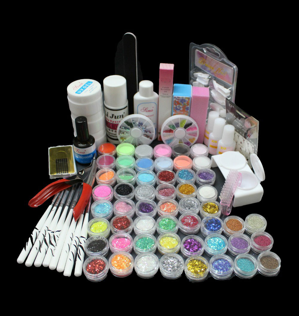 BTT-83Acrylic Liquid Nail Art Borste Lim Glitter Pulver UV Gel Tool Set Kit Tips
