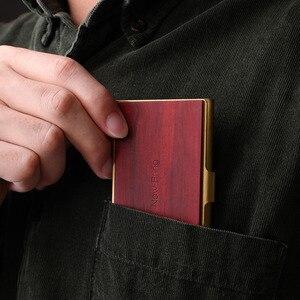 Image 4 - NewBring Mini porte cartes professionnelles en métal en bois mince porte carte didentité de crédit bancaire poche avant pour cadeau